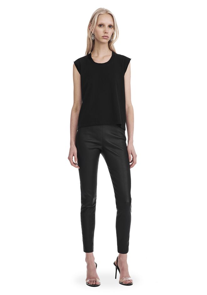 T by ALEXANDER WANG PANTS Women CROPPED LEATHER LEGGINGS