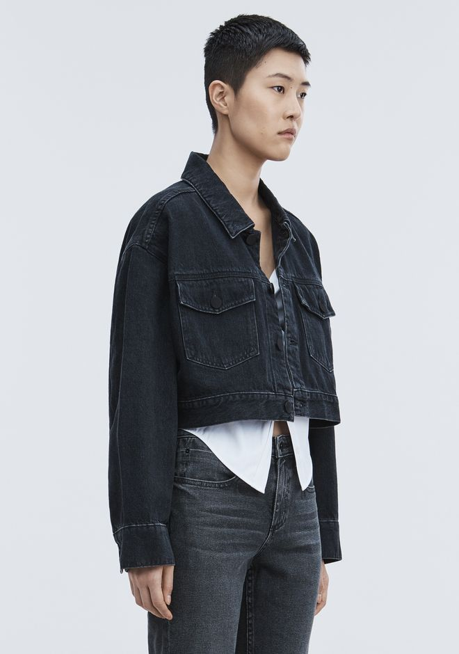 ALEXANDER WANG BLAZE CROP OVERSIZED DENIM JACKET DENIM Adult 12_n_d