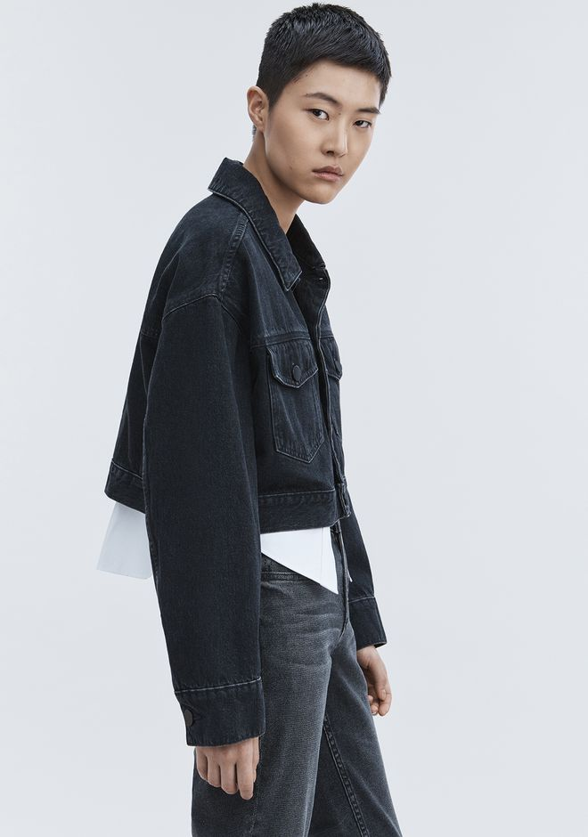 ALEXANDER WANG BLAZE CROP OVERSIZED DENIM JACKET DENIM Adult 12_n_e
