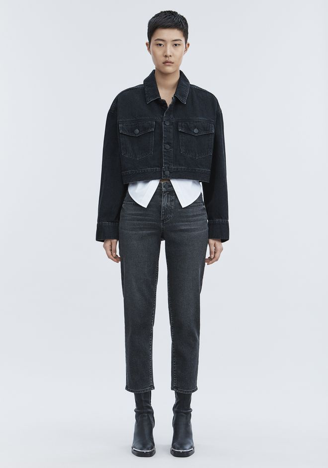 ALEXANDER WANG BLAZE CROP OVERSIZED DENIM JACKET DENIM Adult 12_n_f
