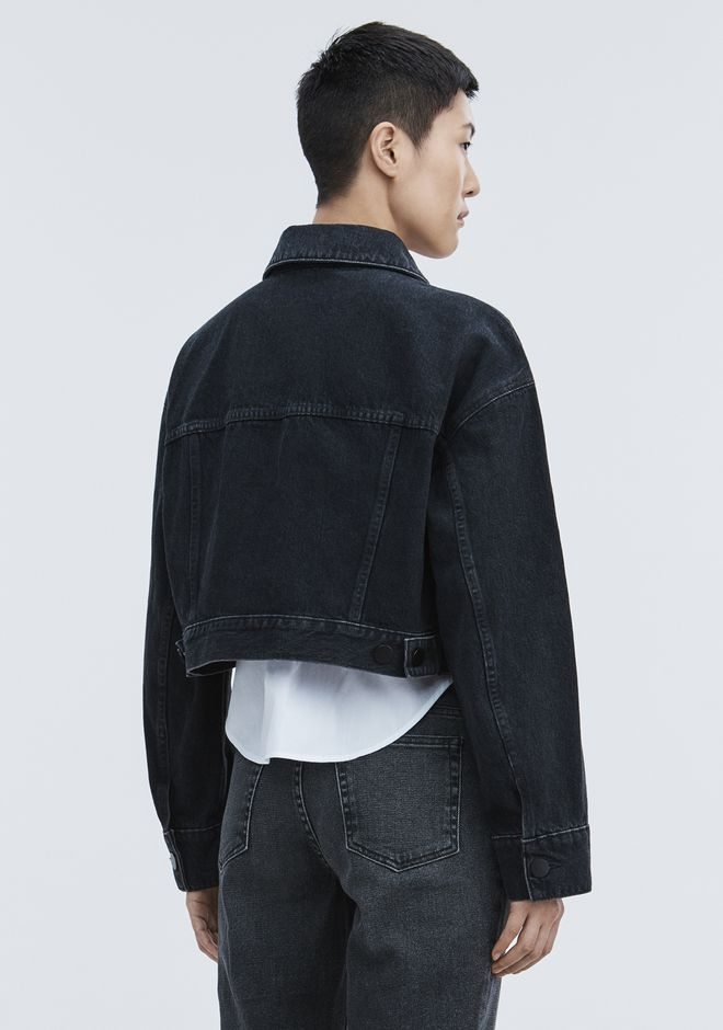 ALEXANDER WANG BLAZE CROP OVERSIZED DENIM JACKET DENIM Adult 12_n_r