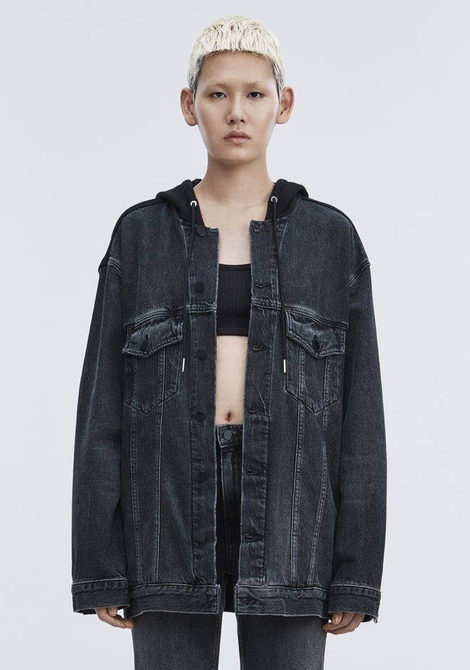 ALEXANDER WANG DAZE MIX OVERSIZED DENIM JACKET DENIM Adult 12_n_a