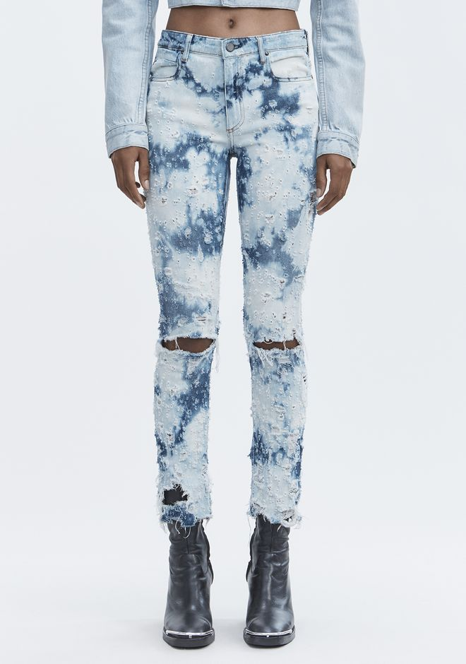 ALEXANDER WANG WHIPLASH DESTROYED JEANS DENIM Adult 12_n_a