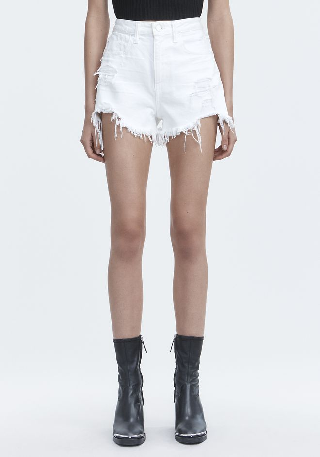 ALEXANDER WANG BITE WHITE DESTROYED DENIM Adult 12_n_a