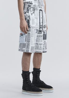 PAGE SIX NEWSPAPER SWEAT SHORTS