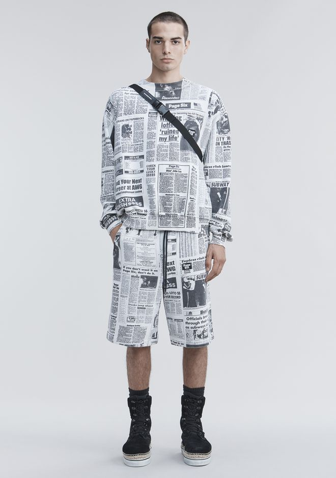 ALEXANDER WANG slbttmmn PAGE SIX NEWSPAPER SWEAT SHORTS