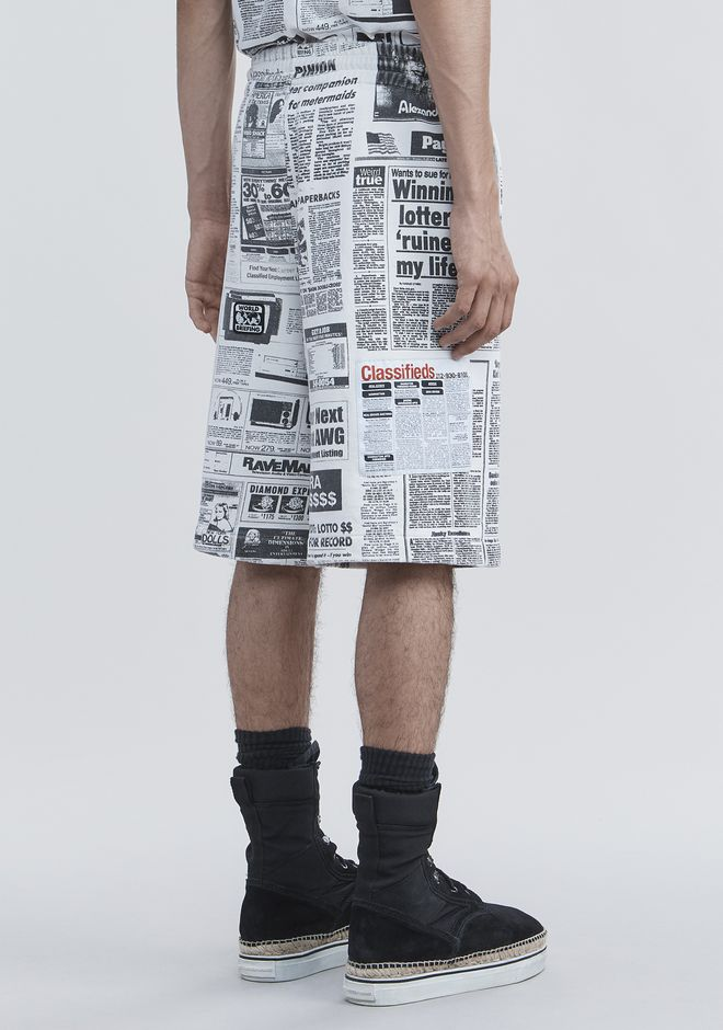 ALEXANDER WANG PAGE SIX NEWSPAPER SWEAT SHORTS SHORTS Adult 12_n_a