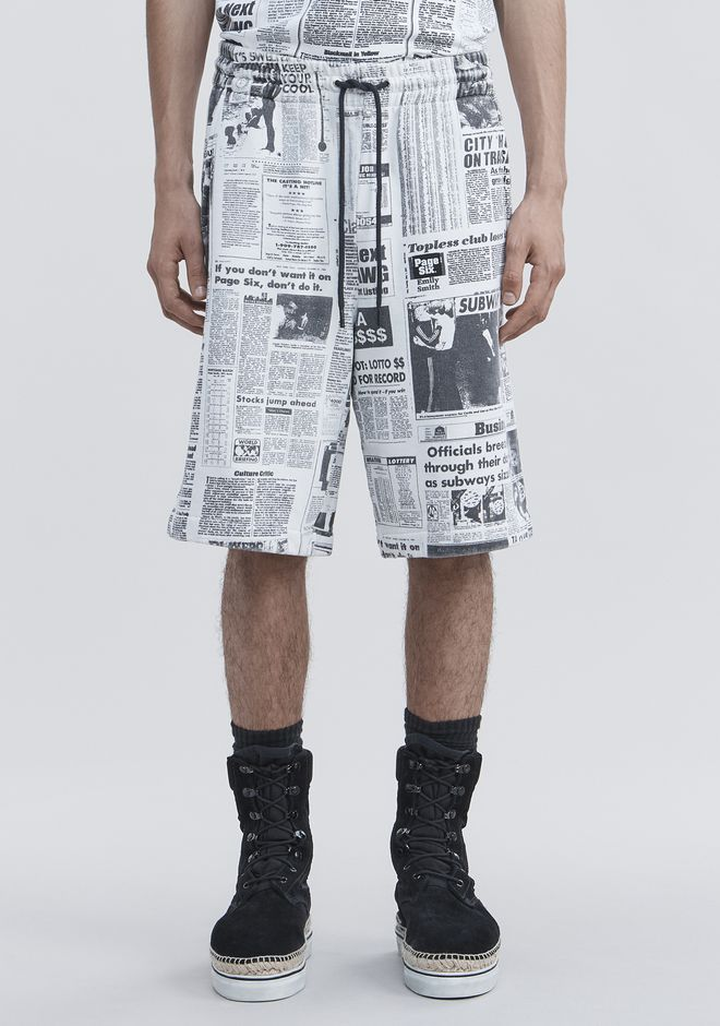 ALEXANDER WANG PAGE SIX NEWSPAPER SWEAT SHORTS SHORTS Adult 12_n_d