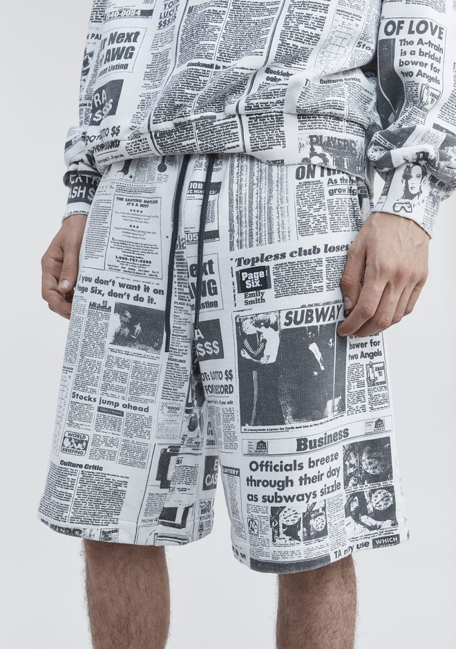 ALEXANDER WANG PAGE SIX NEWSPAPER SWEAT SHORTS SHORTS Adult 12_n_r