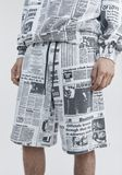 ALEXANDER WANG PAGE SIX NEWSPAPER SWEAT SHORTS SHORTS Adult 8_n_r