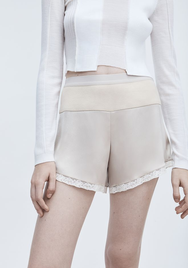 T by ALEXANDER WANG SATIN COMBO SHORTS SHORTS Adult 12_n_a
