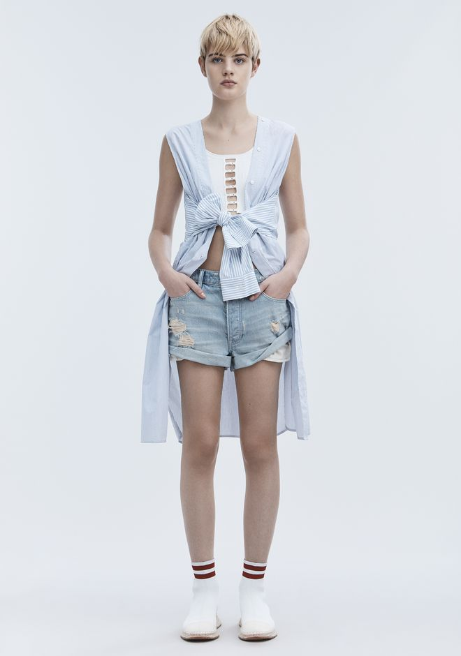 ALEXANDER WANG denim-x-aw HIKE ROLLED SHORTS