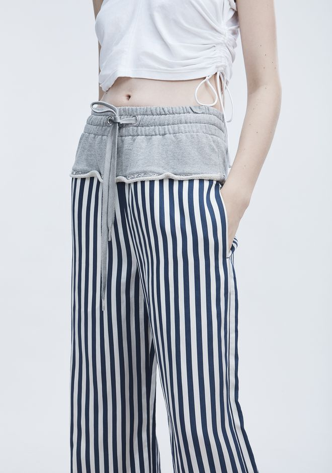 T by ALEXANDER WANG TERRY STRIPE COMBO PANTS PANTS Adult 12_n_a