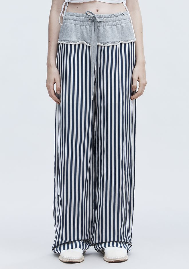 T by ALEXANDER WANG TERRY STRIPE COMBO PANTS PANTS Adult 12_n_d