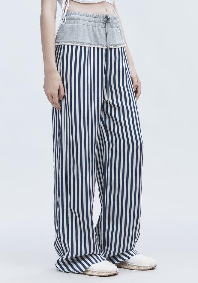 T by ALEXANDER WANG TERRY STRIPE COMBO PANTS PANTS Adult 12_n_e