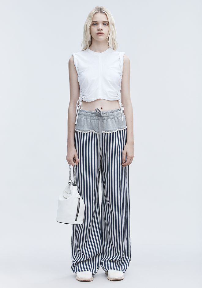 T by ALEXANDER WANG TERRY STRIPE COMBO PANTS PANTS Adult 12_n_f
