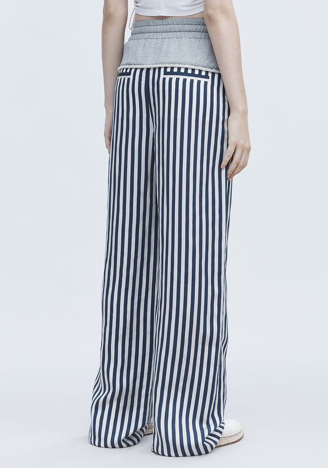T by ALEXANDER WANG TERRY STRIPE COMBO PANTS 裤装 Adult 12_n_r
