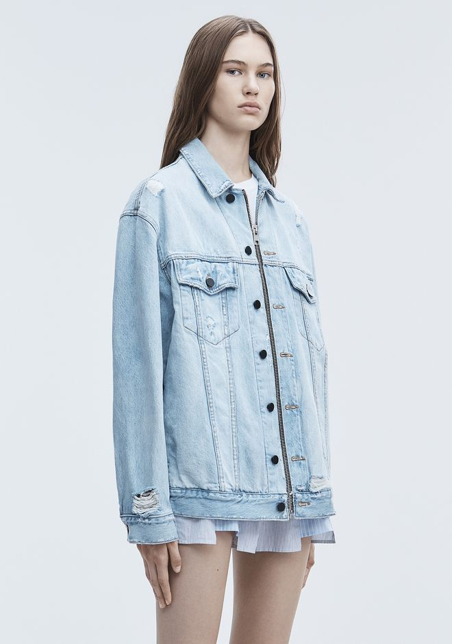 ALEXANDER WANG DAZE ZIP DENIM JACKET DENIM Adult 12_n_a