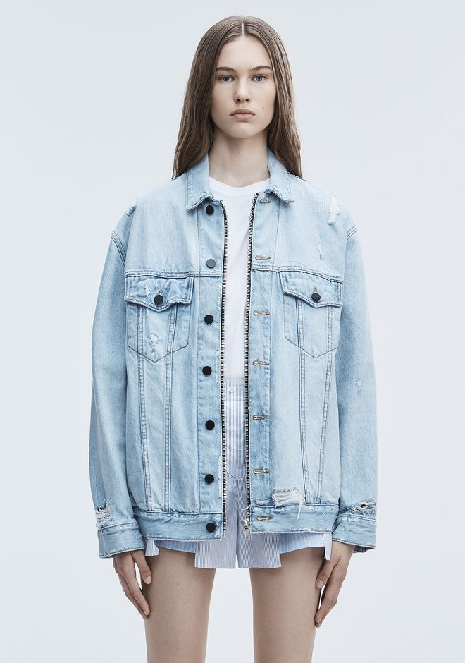 ALEXANDER WANG DAZE ZIP DENIM JACKET DENIM Adult 12_n_d
