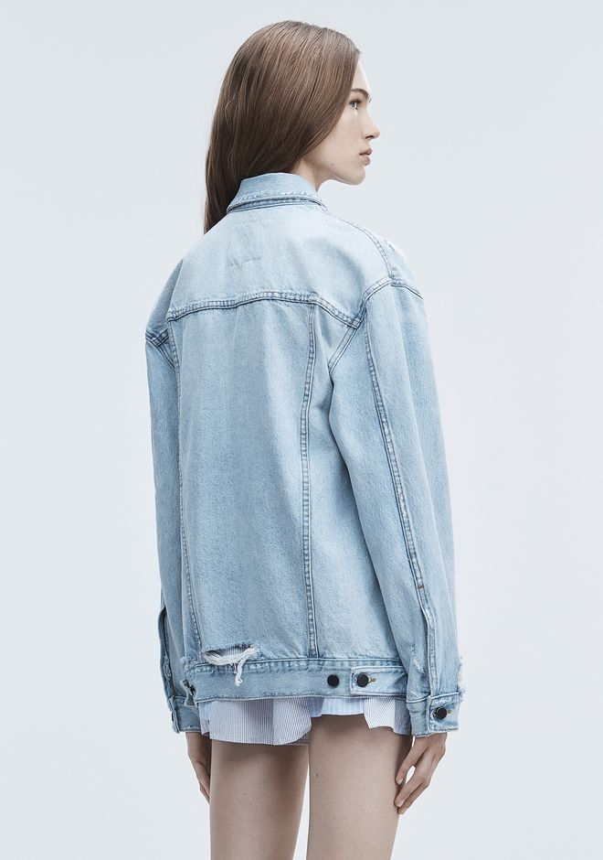 ALEXANDER WANG DAZE ZIP DENIM JACKET DENIM Adult 12_n_e