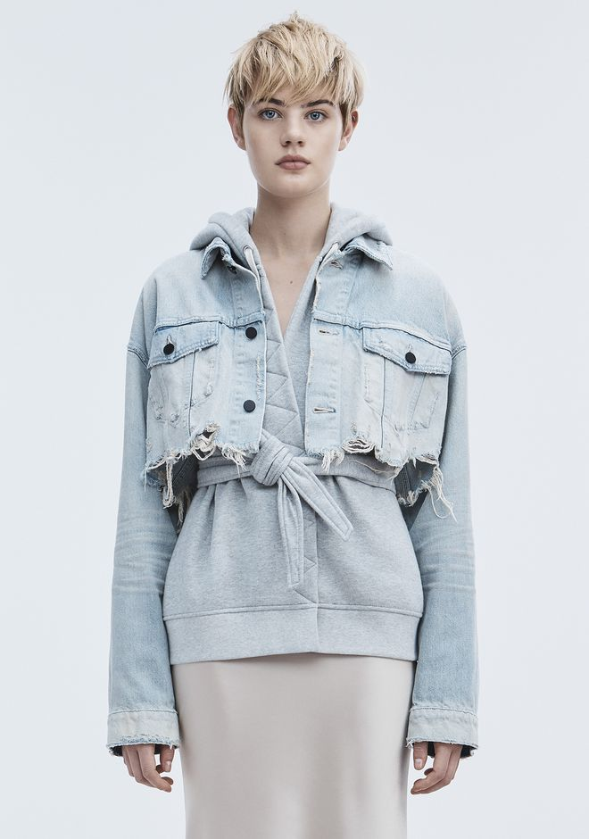 ALEXANDER WANG BLAZE CROP DENIM JACKET DENIM Adult 12_n_d