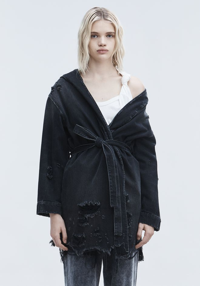 ALEXANDER WANG SHORT DISTRESSED ROBE  DENIM Adult 12_n_d