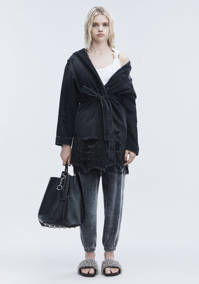 ALEXANDER WANG SHORT DISTRESSED ROBE  DENIM Adult 12_n_f