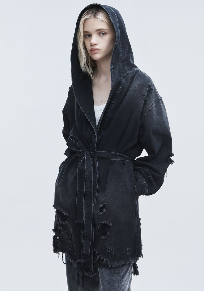 ALEXANDER WANG SHORT DISTRESSED ROBE  DENIM Adult 12_n_r