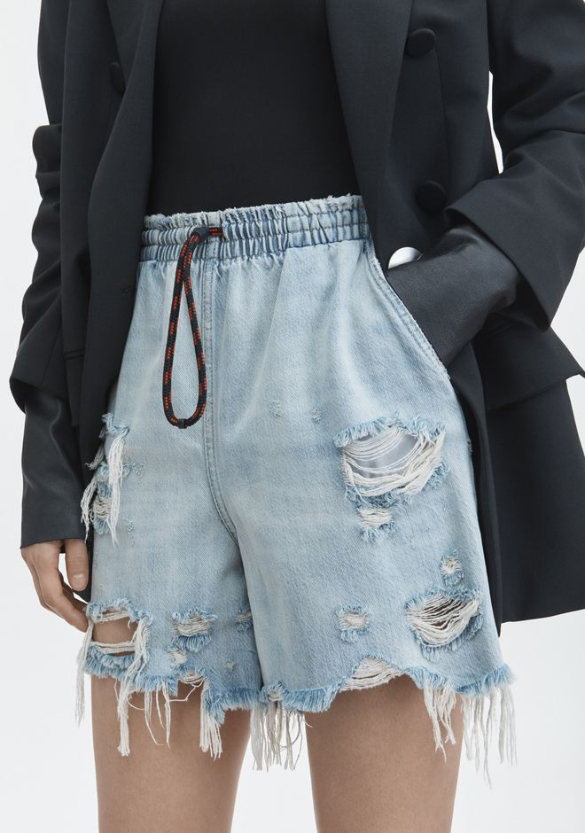 ALEXANDER WANG DRAWSTRING BOXER SHORT DENIM Adult 12_n_d