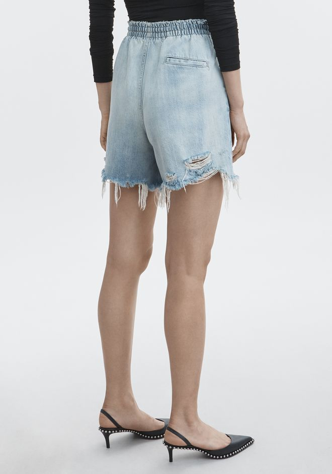ALEXANDER WANG DRAWSTRING BOXER SHORT DENIM Adult 12_n_r
