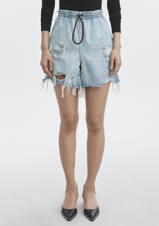 ALEXANDER WANG DRAWSTRING BOXER SHORT DENIM Adult 12_n_a