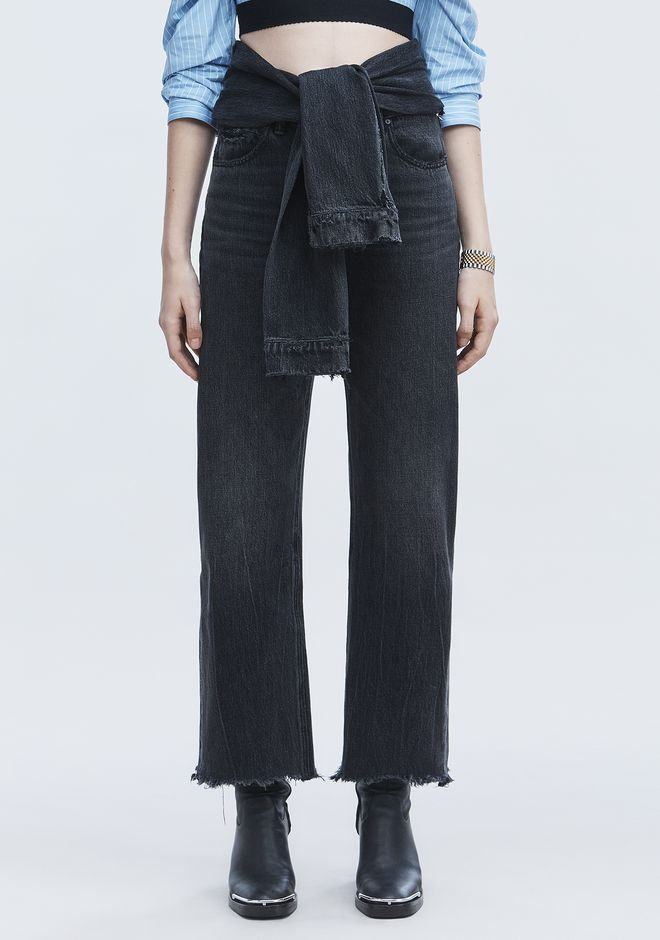 ALEXANDER WANG STACK TIE CROP JEAN DENIM Adult 12_n_a