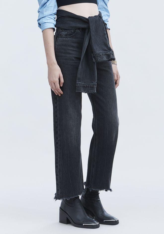 ALEXANDER WANG STACK TIE CROP JEAN DENIM Adult 12_n_e
