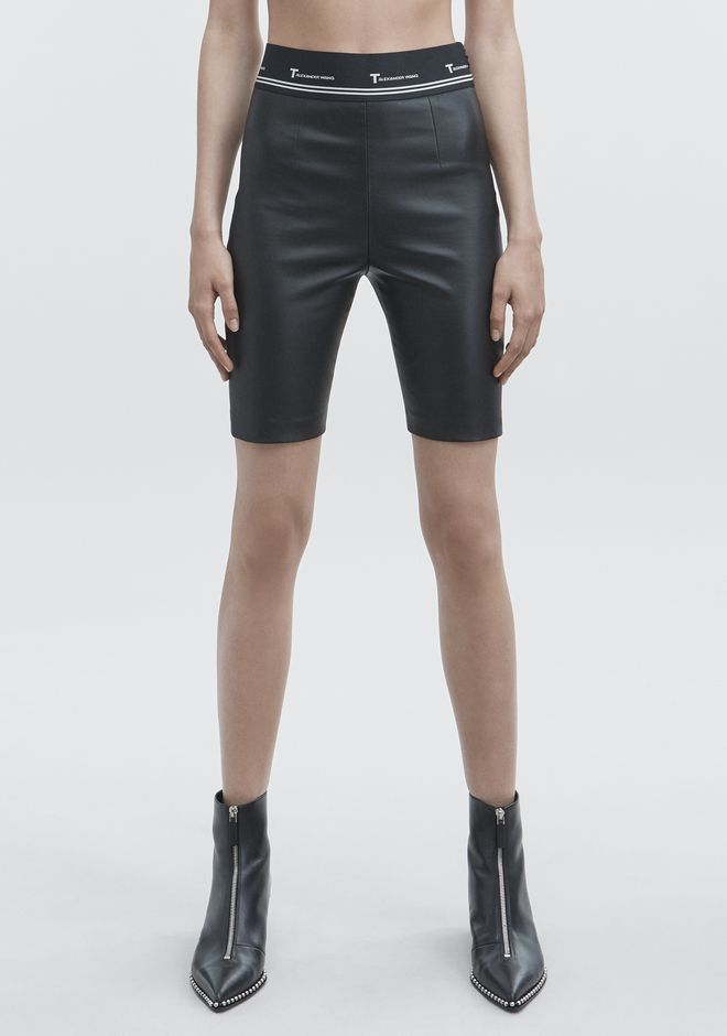 T by ALEXANDER WANG LEATHER BIKER SHORTS SHORTS Adult 12_n_a