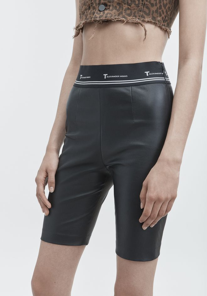 T by ALEXANDER WANG LEATHER BIKER SHORTS SHORTS Adult 12_n_d