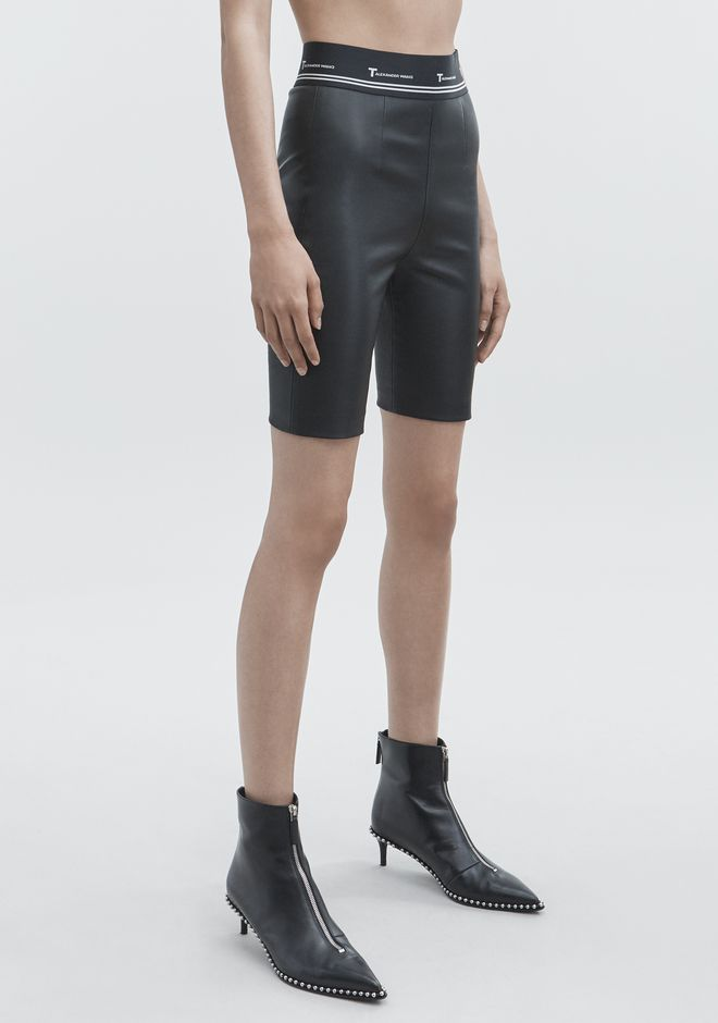 T by ALEXANDER WANG LEATHER BIKER SHORTS SHORTS Adult 12_n_e