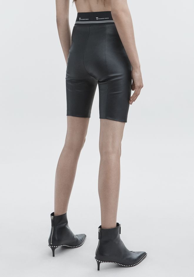 T by ALEXANDER WANG LEATHER BIKER SHORTS SHORTS Adult 12_n_r