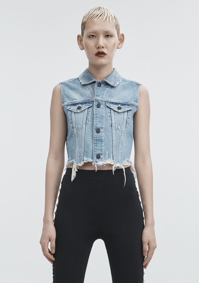 ALEXANDER WANG CROPPED DENIM VEST DENIM Adult 12_n_a