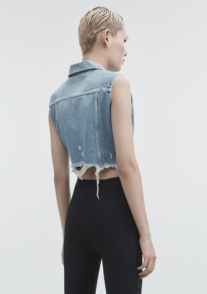 ALEXANDER WANG CROPPED DENIM VEST DENIM Adult 12_n_e