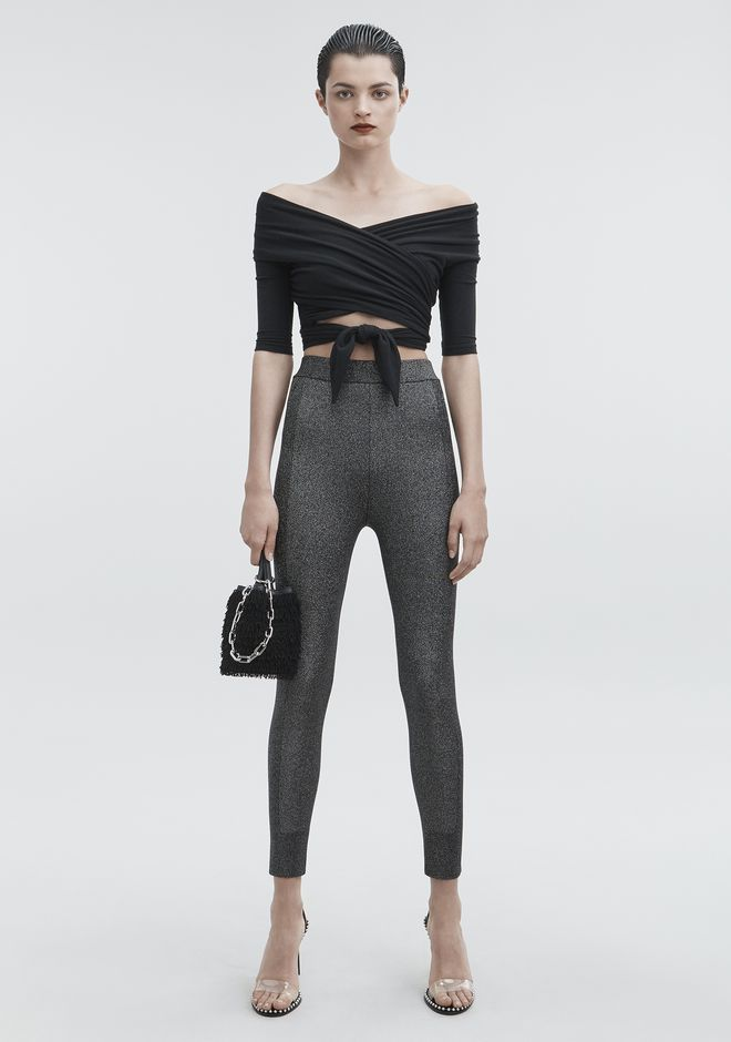 T by ALEXANDER WANG LUREX LEGGINGS PANTS Adult 12_n_f