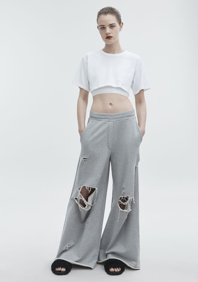 T by ALEXANDER WANG PANTS Women DISTRESSED SWEATPANTS
