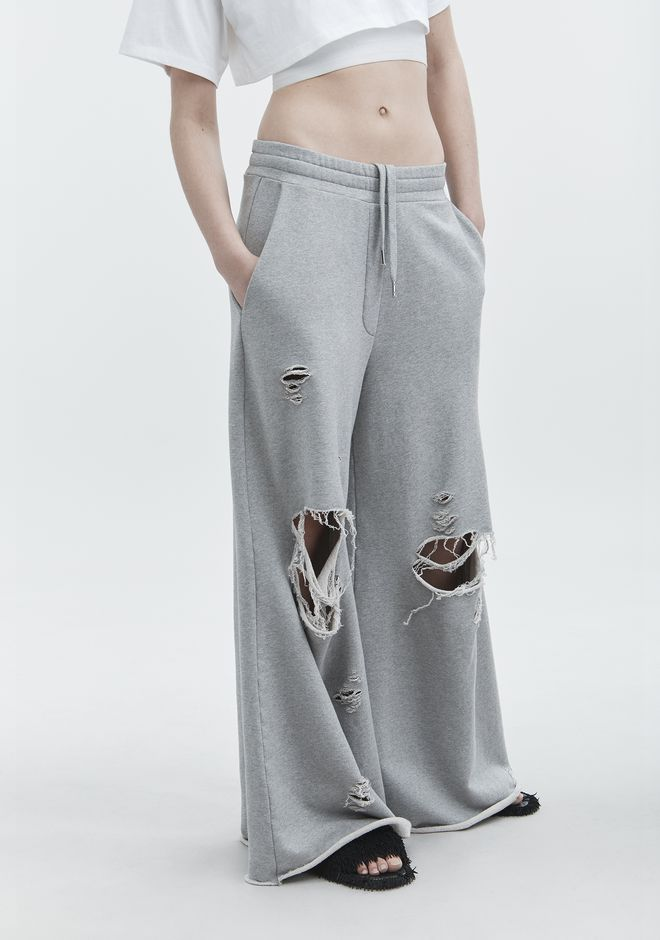T by ALEXANDER WANG DISTRESSED SWEATPANTS  PANTS Adult 12_n_d