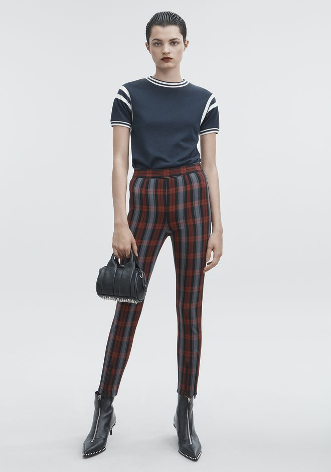 T by ALEXANDER WANG PANTS Women PLAID LEGGINGS