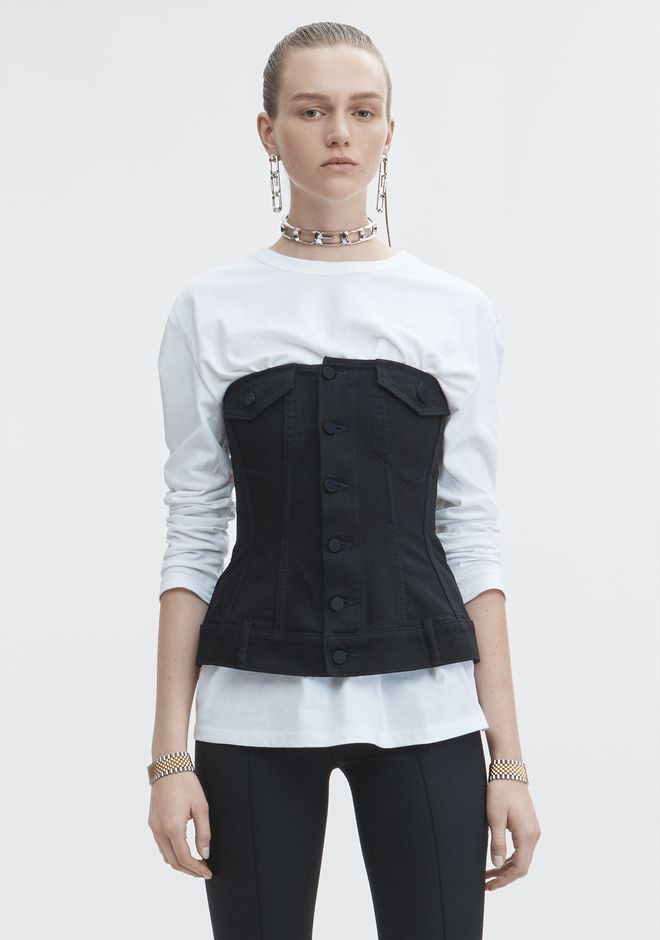 ALEXANDER WANG SCULPTED DENIM TOP  DENIM Adult 12_n_a