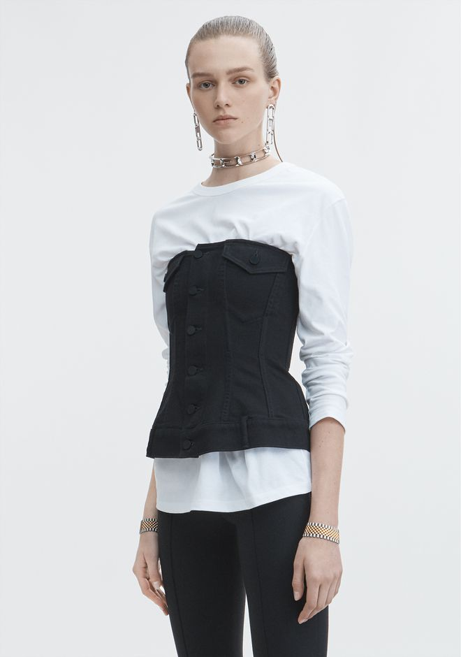 ALEXANDER WANG SCULPTED DENIM TOP  DENIM Adult 12_n_d