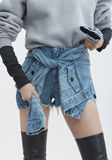 ALEXANDER WANG SLEEVE TIE SKORT DENIM Adult 8_n_d