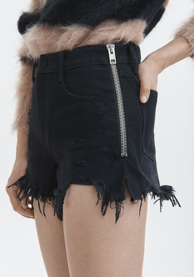 ALEXANDER WANG BITE SIDE ZIP SHORTS DENIM Adult 12_n_d