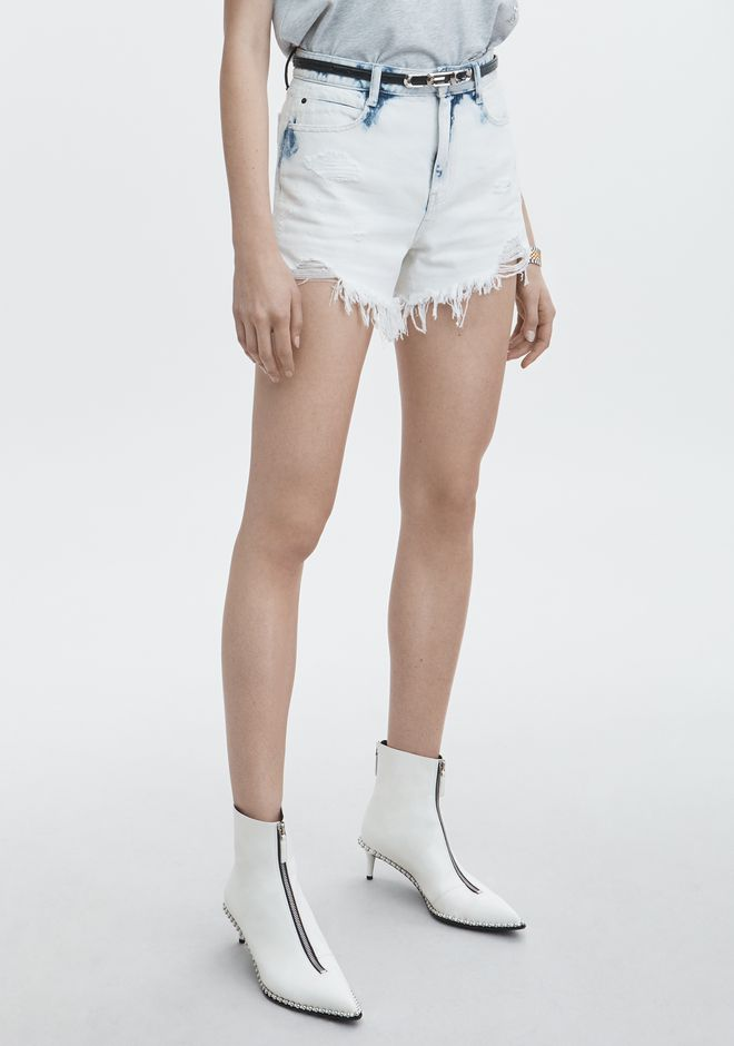 ALEXANDER WANG BITE SIDE ZIP SHORTS DENIM Adult 12_n_e