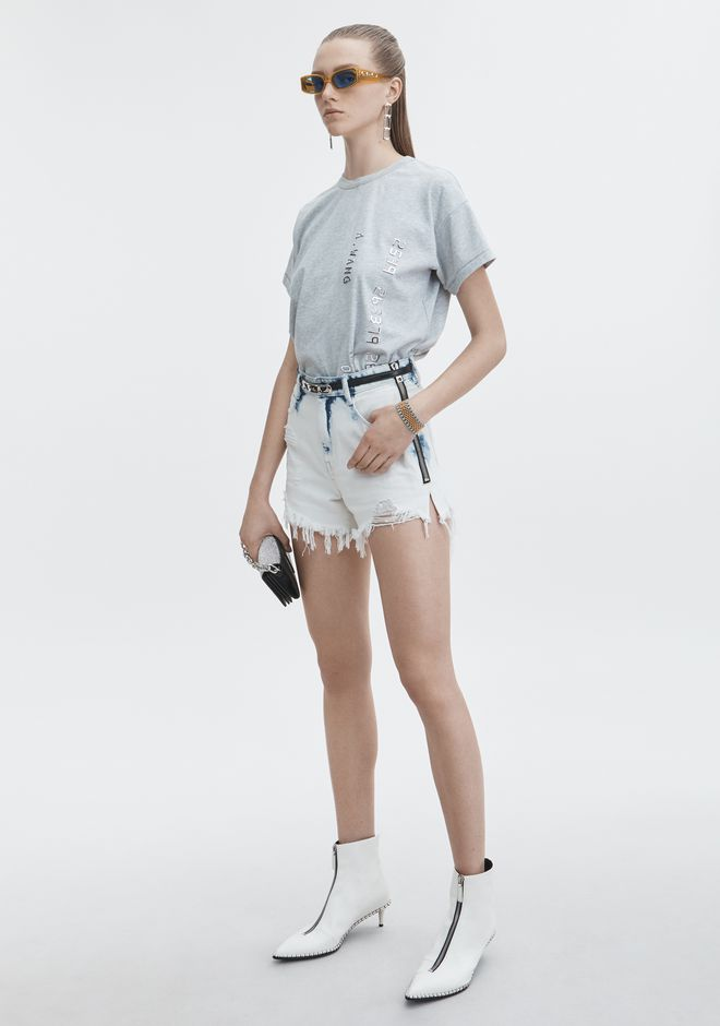 ALEXANDER WANG BITE SIDE ZIP SHORTS DENIM Adult 12_n_f