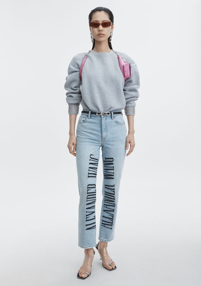 ALEXANDER WANG denim-x-aw CULT LOGO EMBROIDERED JEAN